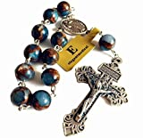 elegantmedical Football Stone bead Catholic Prayer one decade rosary bracelet Pardon cross Gift
