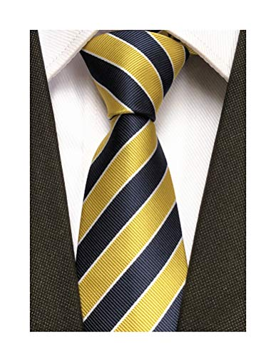(Secdtie Men's Classic Stripe Jacquard Woven Silk Tie Formal Party Suit Necktie (One Size, Yellow Navy))