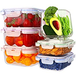 Glass Food Storage Containers with Lids – 6 Pack, 2 Sizes (35 Oz, 12 Oz) – Meal Prep Lunch Boxes – Microwave, Fridge, Freezer, Dishwasher, Oven Safe – BPA-free – Easy Snap, Airtight and LeakProof Lids