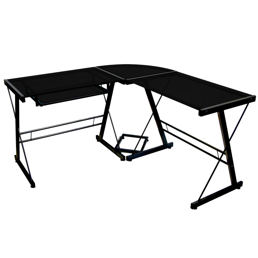 Walker Edison Black Glass and Black Metal Corner Computer/Gaming Desk