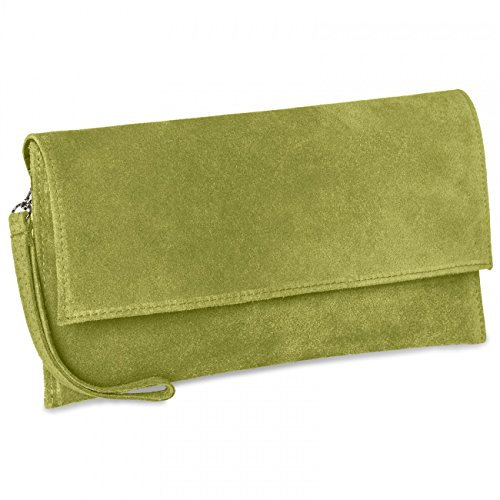 Women Clutch CASPAR TL702 TL702 Leather Olive Suede Women Suede Green CASPAR 81qFFw