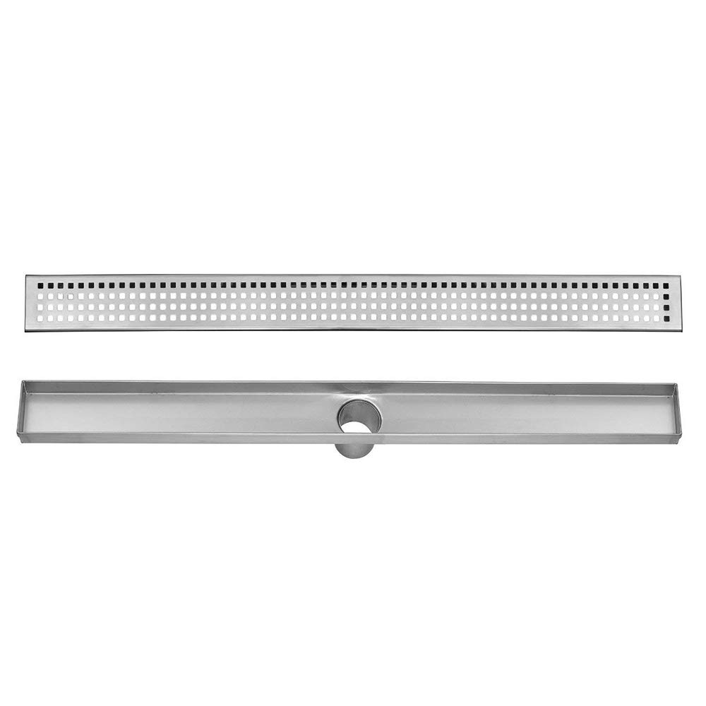 Hahaemall Square Pattern Home Bathroom Shower Linear Stainless Steel Floor Drain Removable Hair Strainer 60 INCH