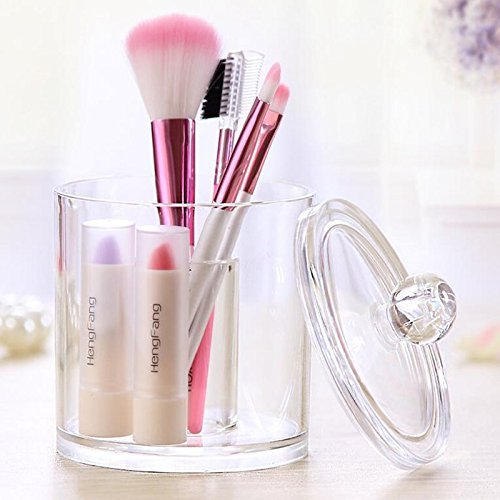 Transparent Cosmetic Storage Box Cover With Cotton Swab Box Acrylic Cosmetic Box (Cup with Cover)