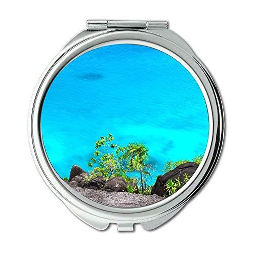 Mirror,makeup mirror,beach caribbean cliff,pocket mirror,portable -
