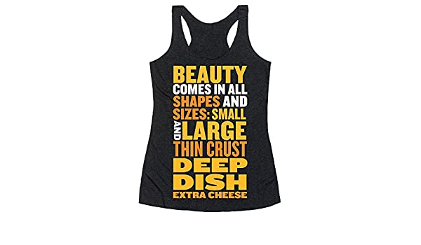 01af86b21e665 Amazon.com  LookHUMAN Beauty Comes in All Shapes and Sizes Heathered Black  Women s Racerback Tank  Clothing