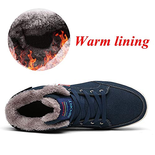 SITAILE Mens Snow Boots Winter Fur Lined Warm Shoes Waterproof Outdoor High Top Sneakers by SITAILE (Image #2)'