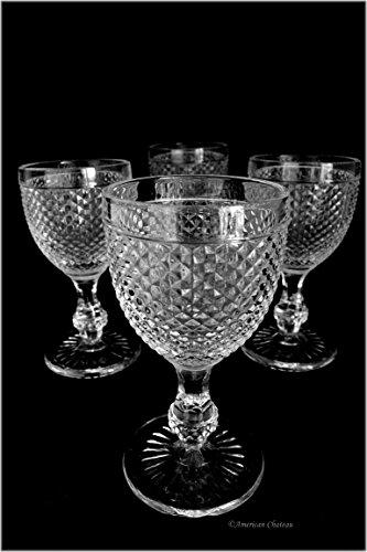 Set 4 Heavy Vintage-Style Footed 14oz Clear Diamond Pattern Wine Goblets ()