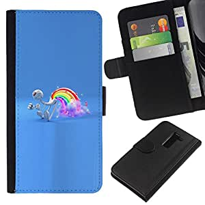 NEECELL GIFT forCITY // Billetera de cuero Caso Cubierta de protección Carcasa / Leather Wallet Case for LG G2 D800 // Rainbow Pedo