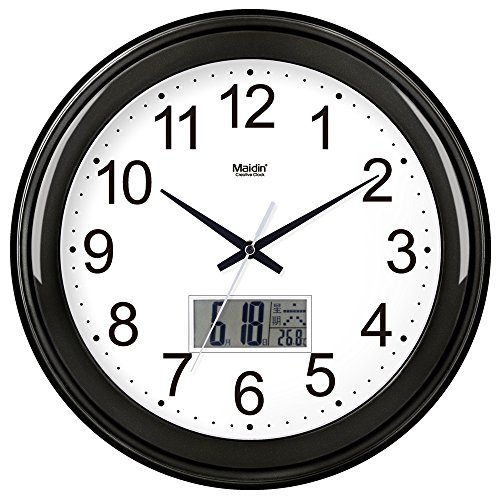 BYLE Wall Clock Quartz Mute Non-Ticking Silent Kitchen Living Room Battery Round Clock Simple Muted Electronic Quartz Clock Home Decor Wall Clock, 16 Inch, Flat-Panel Lcd -024, Carbon Black