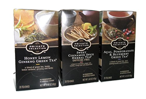 Sweet Honey Tea Green (Private Selection Honey Lemon Ginseng Green Tea , Sweet Cinnamom Spice Herbal Tea, Acai Pomegranate & Blueberry Green Tea 1 Box Of Each 20 Per Box)