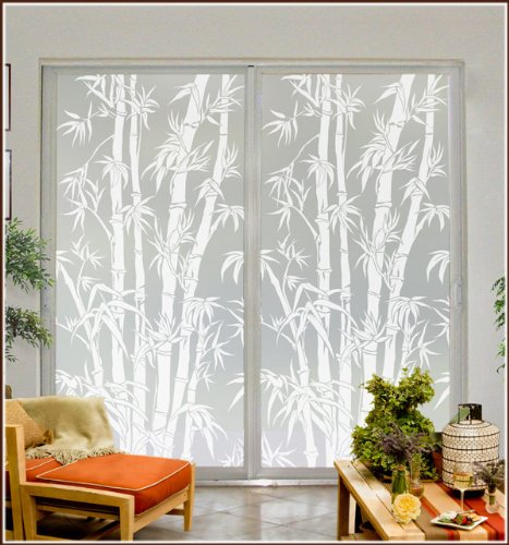 Privacy Window Film Big Bamboo Etched Glass with Lite Frost Glass 48 x 78 inches
