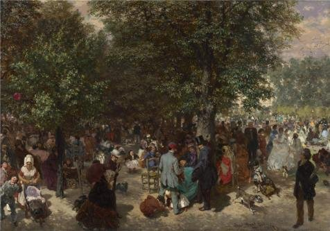 The Perfect Effect Canvas Of Oil Painting 'Adolph Menzel - Afternoon In The Tuileries Gardens,1867' ,size: 20x29 Inch / 51x73 Cm ,this Best Price Art Decorative Canvas Prints Is Fit For Dining Room Decor And Home Decoration And Gifts