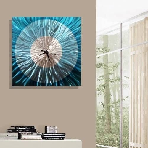 Modern Abstract Aqua Blue and Silver Wall Clock - Handmade Metal