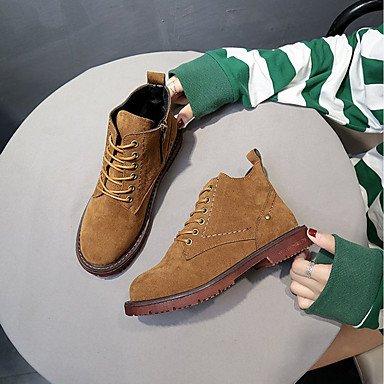 RTRY Zapatos De Mujer Invierno Pu Confort Cowboy Western / Botas Botas Talón Plano Ronda Toe Botines/Botines Zipper Lace-Up Para Casual US6 / EU36 / UK4 / CN36