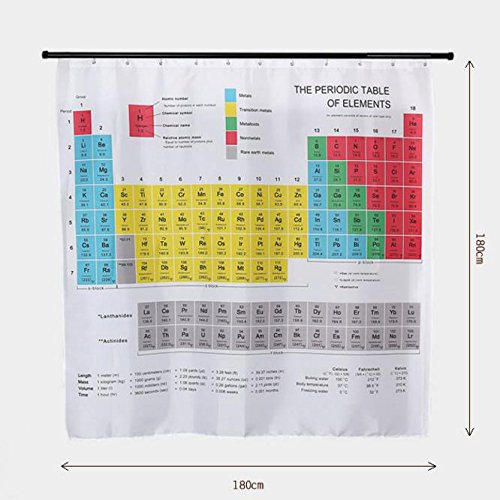 OFKPO Periodic Table of Elements Shower Curtain Polyester Fabric Waterproof With 12 Hooks for Bathroom