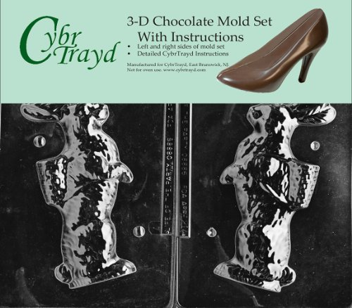 Cybrtrayd E214AB Chocolate Candy Mold, Includes 3D Chocolate Molds Instructions and 2-Mold Kit, Bunny with Basket on Back