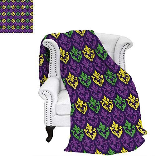 Mardi Grasblanket Throw blanketAntique Old Fashioned Motifs in Mardi Gras Holiday Colors Tile Patternoutdoor Blanket 50