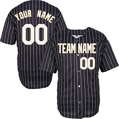 Pinstriped Custom Baseball Jersey for Men Women Youth Full Button Embroidered Your Name & Numbers S-8XL - Make Your Design -