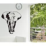 Amaonm® Removable Huge Vinyl Black Africa Elephant Animal Wall Decal Animals Wall Stickers Murals Walllpaper for Classroom Kids Babys Bedroom Living Room TV Background