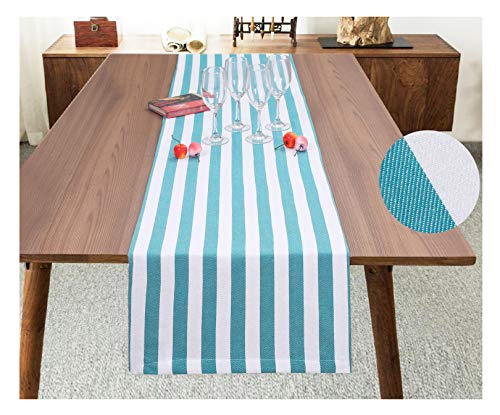 - Ramanta Home Classic French Stripe Cotton Table Runner for Family Dinners or Gatherings, Indoor or Outdoor Parties, Everyday Use, Wedding Table Runner-(16x72) Easy Care, Teal White Stripes, 2Pack
