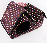 Komia Polka Dot Style Roomy Pet House for Small Dog Cat 2 Room Pet Cave Covers