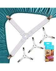 Bed Sheet Straps Clips, Sheet Holder, 4 Pack Triangle Bed Sheet Straps Fasteners Set 3 Ways Mattress Corner Suspenders Grippers Holders for Mattress Pad Corner Crib (White)