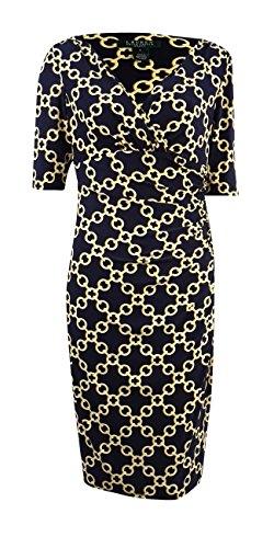 - Lauren Ralph Lauren Women's Link Chain Print Jersey Dress (4, Navy/Yellow/Gold)