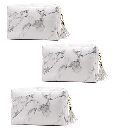 688cfe98277d Amazon.com: Marble PU Leather Cosmetic Bag Zipper Storage Bag ...