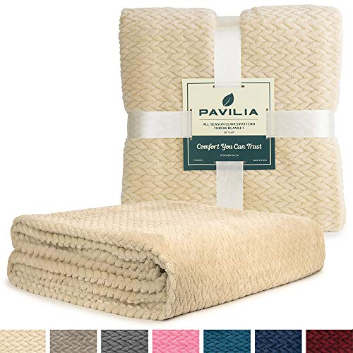 PAVILIA Luxury Soft Plush Cream Throw Blanket for Sofa, Couch | Velvet Fleece Chevron Textured Throw | Cozy Lightweight Microfiber, Reversible Beige Blanket | All Season | 50 x 60 Inches