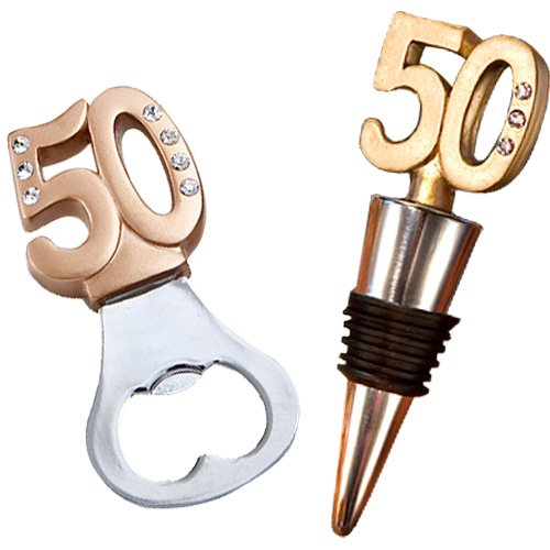 (Fashioncraft 50th Anniversary Birthday Wine Bottle Opener with Stopper Gift Set Favors, 50th Golden Design)