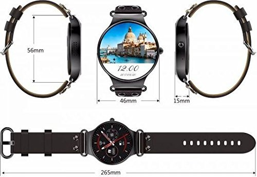 KW98 Smart Watch Android 5.1 3G WiFi GPS Watch Smartwatch for iOS Android (Black)