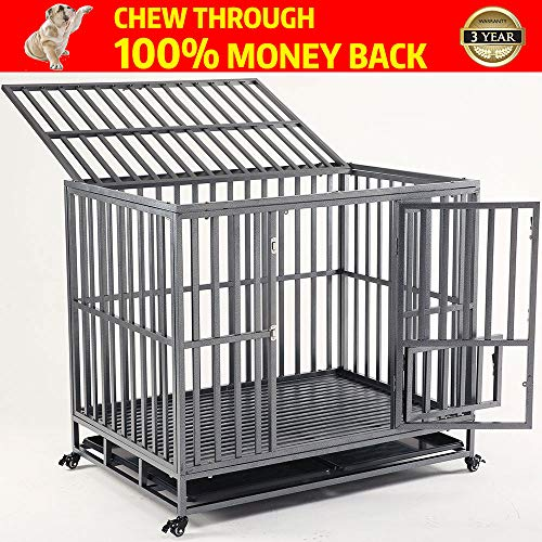 (KELIXU Heavy Duty Dog Crate Large Dog cage Dog Kennels and Crates for Large Dogs Indoor Outdoor with Double Doors, Locks and Lockable Wheels(38in 42in 46in))