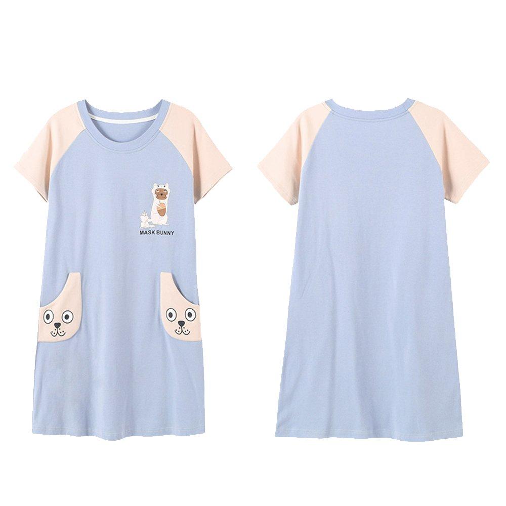 Vopmocld Big Girls' Summer Short Sleeve Pajama Nightgown Cute Rabbits Nightdress