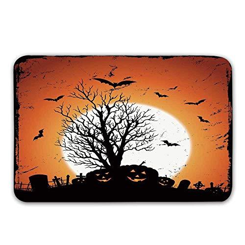 TecBillion Vintage Halloween Non Slip Door Mat,Grunge Halloween Image with Eerie Atmosphere Graveyard Bats Pumpkins Doormat for Front Door Indoor,31.5
