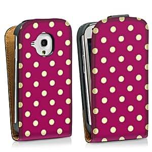 Diseño para Samsung Galaxy S3 Mini I8190 DesignTasche Downflip black - Polka Dots - bordeaux und hellgelb