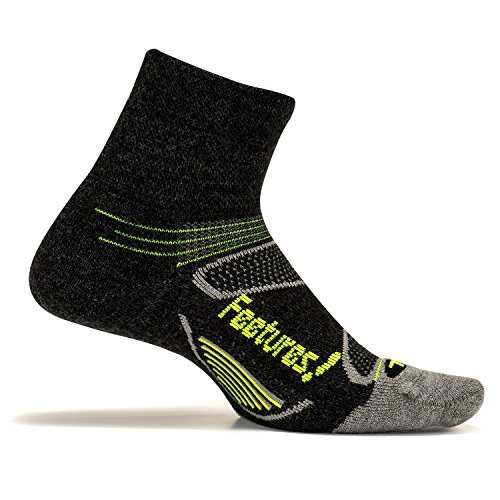 Feetures! Men's Elite Merino+ Cushion Quarter, Charcoal + Reflector, Large