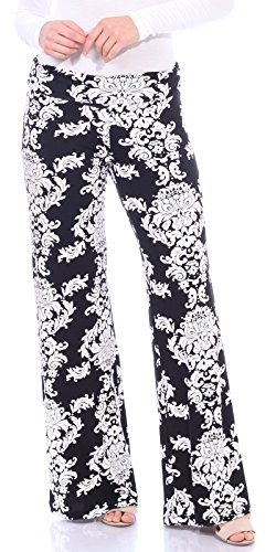 Popana Damask Palazzo Pants - Made In USA,Black,Large