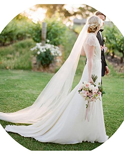 Anmor 2T Long Wedding Veils 2M Tulle Bridal Veil Ivory with Comb (Tulle Veil)