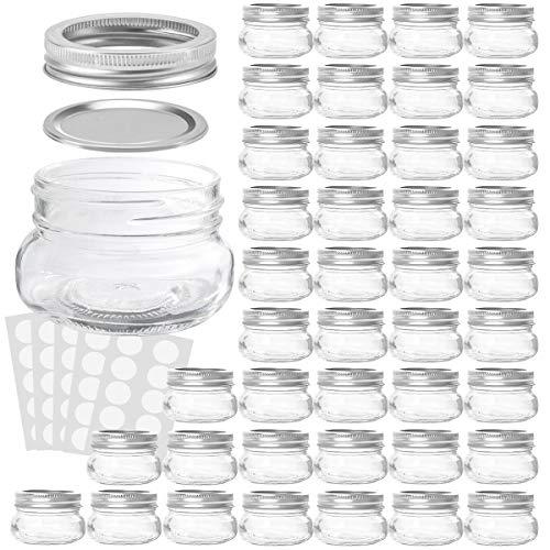 KAMOTA Mason Jars 4OZ With Regular Lids and Bands, Ideal for Jam, Honey, Wedding Favors, Shower Favors, Baby Foods, DIY Magnetic Spice Jars, 42 PACK, 50 Whiteboard Labels Included