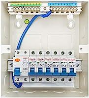 6 Way Metal Garage Consumer Unit 8 Module with 100A RCD 6A 16A 20A /& 32A MCBs