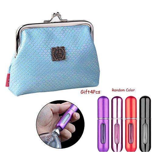 Brendacosmetic Portable Lock Pu Leather Wallet Coin Purse Clutch Handbag Bright Color Coin Bag for Storaging 4 Pcs-5ml Empty Atomizer Refillable Spray Bottle Perfume Bottles Random Color