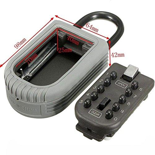 Key safe lock box Ksun Portable push-button combination lock exterior outdoor waterproof hide Padlock Box Secure Box Keys Holder combination for Home/House use Key Storage Lock Box by Ksun (Image #3)