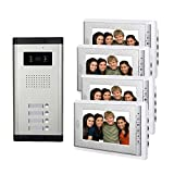 AMOCAM Video Intercom Entry System, Wired 7'' LCD Monitor Video Door Phone Kits, 4 Units Apartment Video Doorbell, Support Monitoring, Unlock, Dual way Door Intercom, IR Night Vision, 1 Camera 4 screen