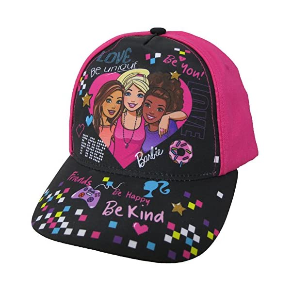 51bHC2SaNTL. SS600  - Barbie Girls Trio Heart Baseball Cap [6013] Pink and Black