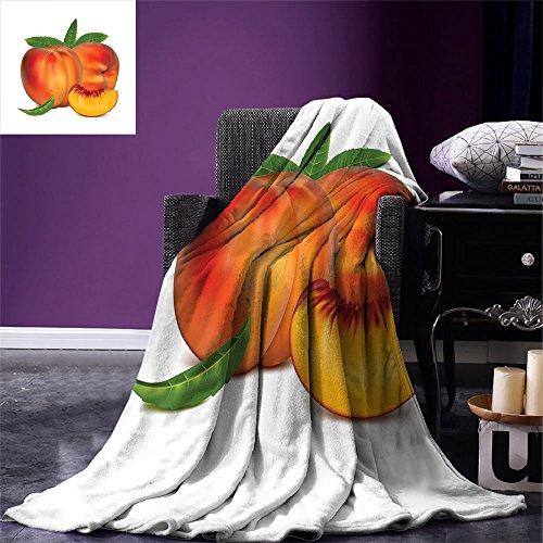 smallbeefly Peach Digital Printing Blanket Vivid Juicy Fruit for Vegetarian Diet Slice of a Healthy Vitamin Rich Snack Summer Quilt Comforter Vermilion Green