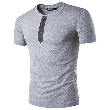 LILICAT® 2018 Moda Casual Camisas Sólidas para Hombres con Botón Summer Casual Blusa Superior (