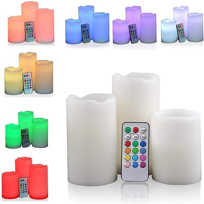 3 velas LED efecto llama RGB, velas pofumadas multicolor, con mando a distancia