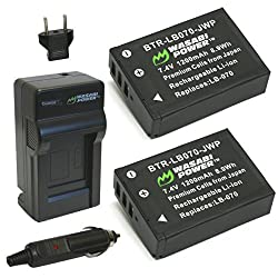 Wasabi Power Battery (2-pack) & Charger For For Kodak Lb-070 & Pixpro Az651, S-1