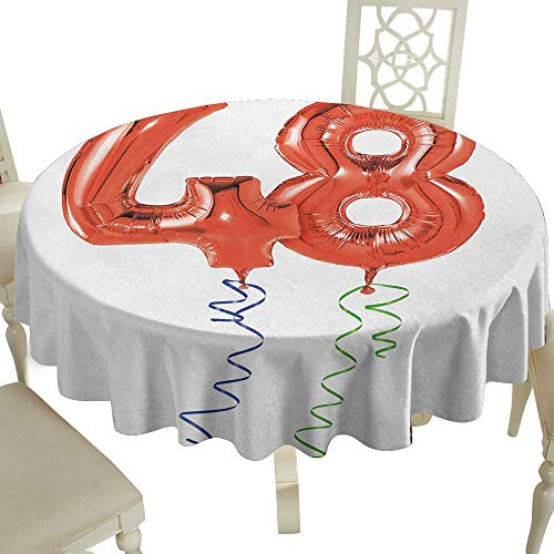 picnic round tablecloth 36 Inch 48th Birthday,Happy Greetings