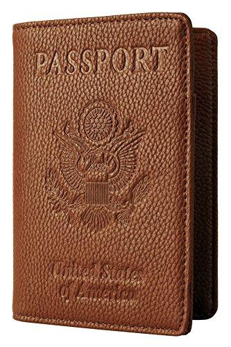 NapaWalli Leather Passport Holder Wallet Cover Case RFID Blocking Travel Wallet (lychee brown)